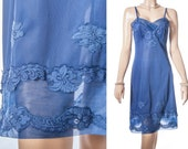 Vintage 1950's luxurious 'Caroline Lingerie by Lux Lux' silky soft midnight blue nylon and delicate lace detail full slip petticoat - 3684