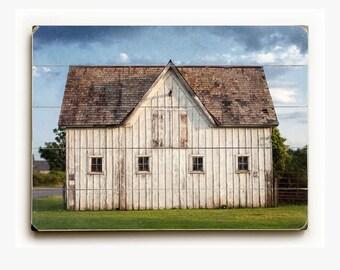 Wood Sign: Sanford Stud Farm Wood Plank, Rustic Barn Photo, Old Barn Landscape, Saratoga New York Art, Farmhouse Decor.