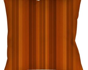 "Pumpkin Stripe Throw Pillow - Spun Polyester - Sewn, With Zipper or Pillowcase only, 14"" 16"" or 18"" Square"