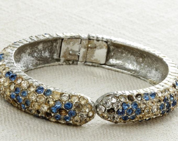 Blue Rhinestone Cuff | Hinge Bracelet Clear & Blue Crystals | Something Blue | 1950s Costume Jewellery | Silver Tone Jewelry Cuff 15A