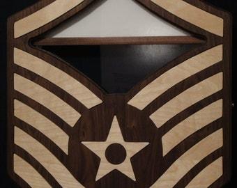 USAF MSgt Chevron Shadow Box