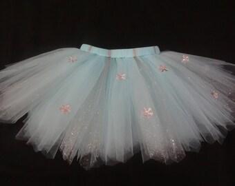 "Elsa inspired tutu ""Snow Princess"" snowflake tutu in light blue custom made from Newborn-4t"
