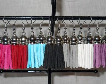 Leather-Suede Tassel Earrings surgical steel, various colors