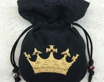 BEJEWELED GOLDEN CROWN - Embroidered Dice Bag, Rune Bag / Pouch made of Faux Suede - larp accessory