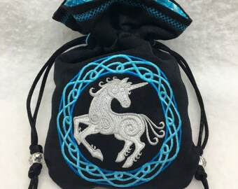CELTIC UNICORN - Faux Suede Drawstring Pouch with Machine Embroidery for Dice, Runes, Tarot Cards