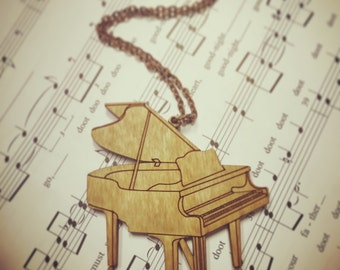 Wood Piano Instrument Statement Chain Necklace