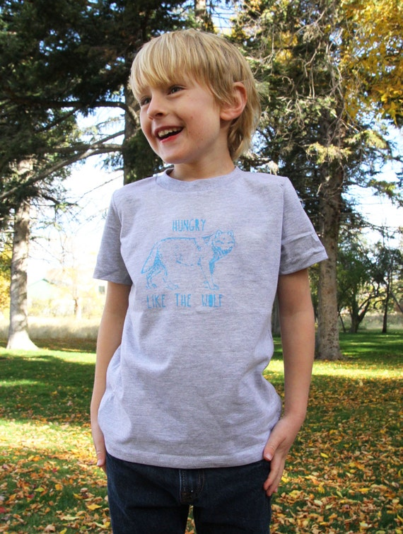 Hungry Like The Wolf- Funny Screen Print Toddler Kids Tee - Heather Grey with Blue