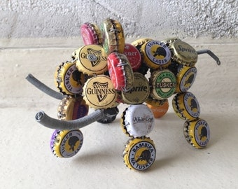 vintage fork art bottle cap Art  elephant  50-60'