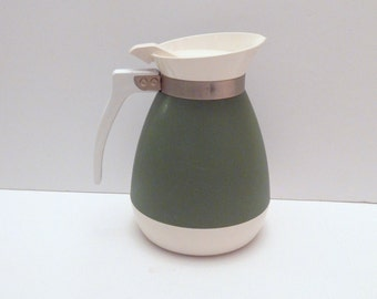 West Bend Carafe - Vintage Carafe - Avocado Green Pitcher - Thermal Insulated Carafe
