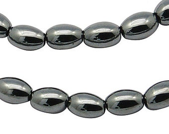 Oval Hematite Beads 4mm x 6mm, 1 strand