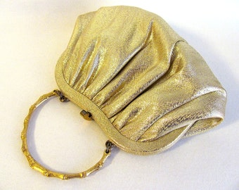 "Lovely Vintage Gold Lame Fabric ""Ande"" Evening Bag"