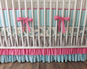 Girl Crib Bedding- Pink and Aqua Baby Bedding-READY TO SHIP-  Custom Bedding- Girl Bedding Set