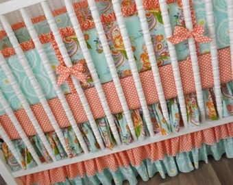 Crib Bedding, Peach and Mint, Girl Bedding, Baby Girl Bedding, Baby Bedding Set, Ready To Ship, Custom Bedding,