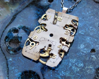 """Watch Face Pendant """"Burn"""" Deconstructed Watch Dial Necklace Recycled Upcycled Gear Art Steampunk by A Mechanical Mind"""