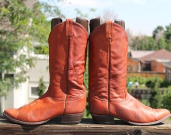 Vtg. Mens Leather Tony Lama Cowboy Boots size 9.5 D