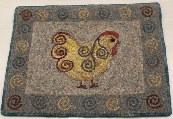 "Rug Hooking PATTERN, Spiral Chicken, 16"" x 20"", P103"