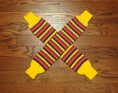 vintage 70s 80s leg warmers stripe socks striped thigh high roller derby 1970 1980 athletic yellow purple red deadstock NOS