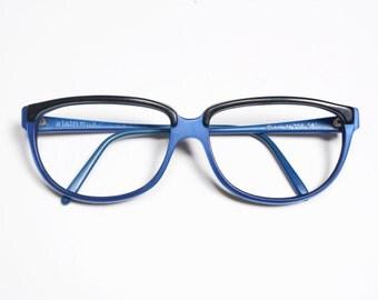 vintage eyewear 80s 90s Alain Mikli glasses eyeglasses oversize wayfarer black metallic blue 1980 1990 fashion plastic frames