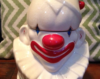 Vintage McCoy Pottery Clown Bust Cookie Jar Circus Jar