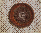 """9"""" Crocheted Browns/oranges Decorative Bowl or Small Pet Bed"""