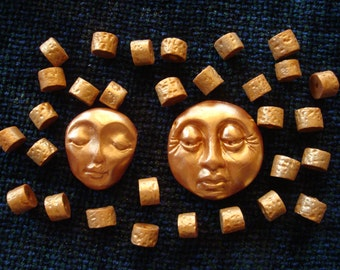 Set of 30 Beads and 2 Face Pendants, Burnished Copper Polymer Clay
