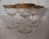 Stunning  Tiffin-Franciscan Rambler Rose Gold Trim 6 Smaller Liquor/Coctail / Crystal Glassware,Stemware