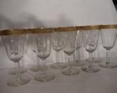 Stunning  Tiffin-Franciscan Rambler Rose Gold Trim 10 Water/Wine Crystal Goblets Glassware,Stemware