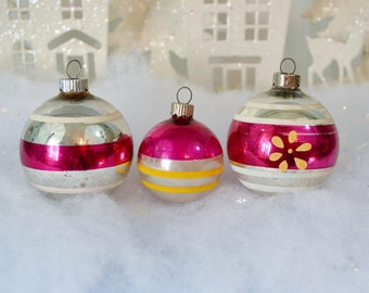Vintage Pink Silver Christmas Ornaments Shiny Brite Set of 3 Striped White Yellow Flowers Three 1950's