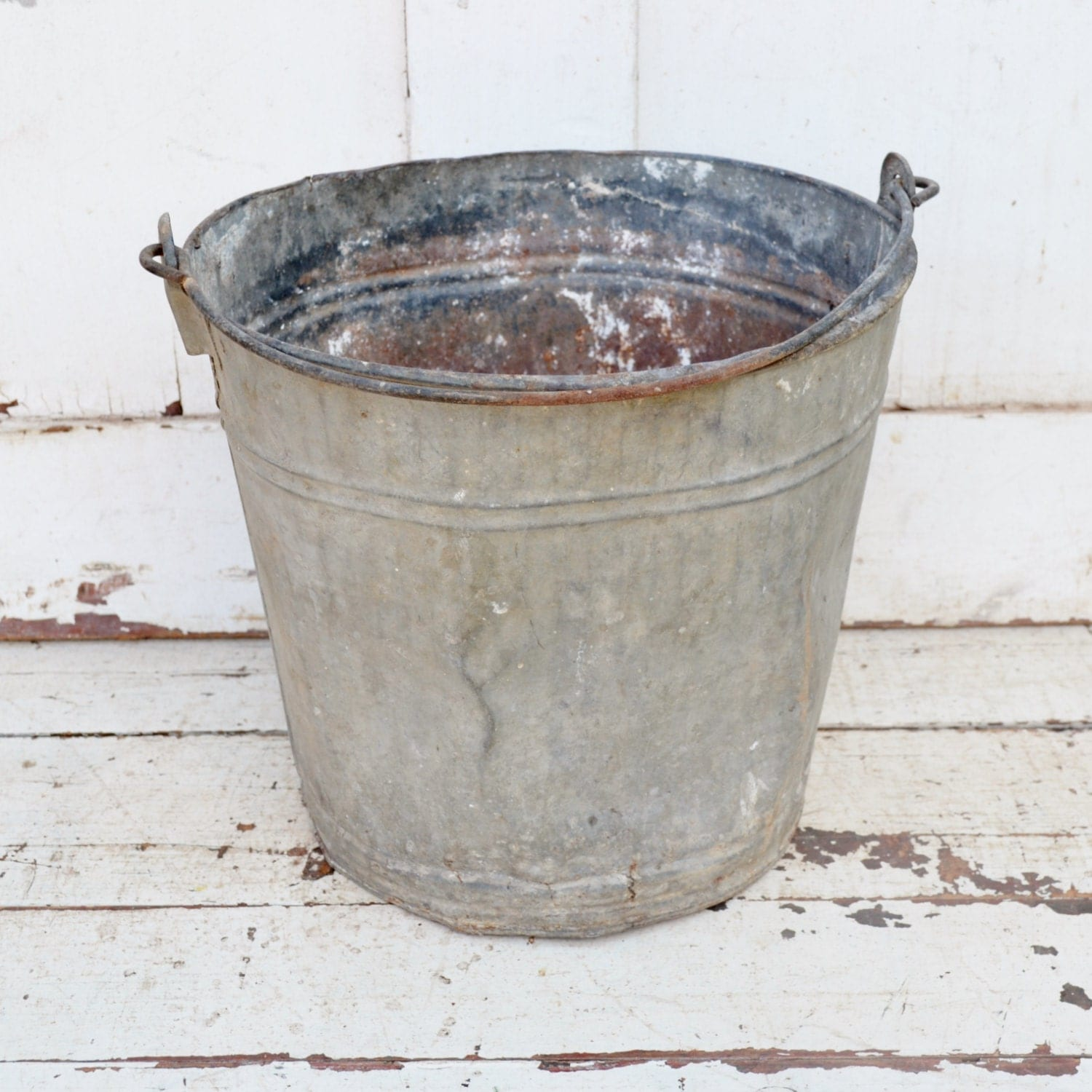 Vintage galvanized metal bucket leaky holes dents pail rustic for Rustic galvanized buckets