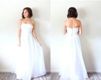 20% OFF HALLOWEEN SALE Vintage strapless wedding dress // chiffon floor length white dress // strapless chiffon dress // party dress // ball