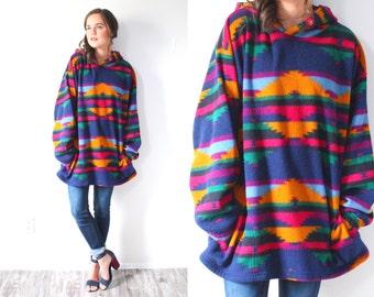 Vintage oversized jacket overcoat // winter fleece jacket coat // boho navajo aztec Pendleton style jacket // southwestern multi-color print