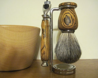 Shave Set Hand Turned Bocote with Grade A Badger Hair Shaving Brush, Gillette Mach 3 Razor Handle and Stand