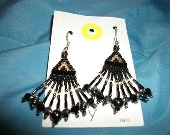 H Black n Amber Earrings D