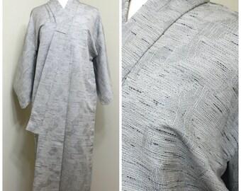 Japanese Vintage Kimono. Ikat / Kasuri Silk. Black White Gray Woven Robe (Ref: 1488)