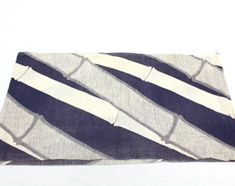 Traditional Japanese Cotton. Kimono Yukata Sleeves with Purple Bamboo Design (Ref: 141)