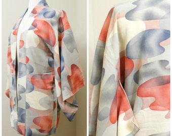 Japanese Haori Jacket. Vintage Silk Coat Worn Over Kimono. Abstract Shapes in Orange and Blue (Ref: 1197)