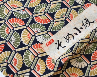 Fabric Bolt wool blend, Vintage Japanese, Kimono fabric by the yard, 100% Wool, Black fans Multi, Lakimonoya 1 yard