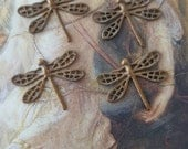 4 Vintage RARE Tiny Dragonfly Filigree Art Deco Detailed Old Brass Pieces