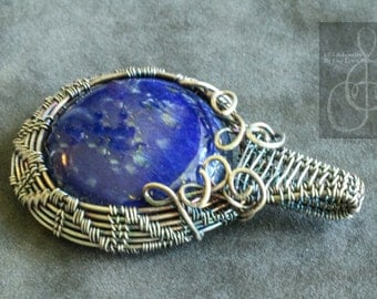 Lapis Lazuli Woven Silver Wire Wrapped Pendant