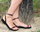 Custom Made Barefoot And Stylish Strappy Leather Flat Sandals Ankle Strap - Liberty
