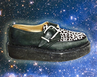 80s Vintage John Fluevog Platform Leather Creepers Leopard Pony Hair Teddy Boy 8.5 / 9