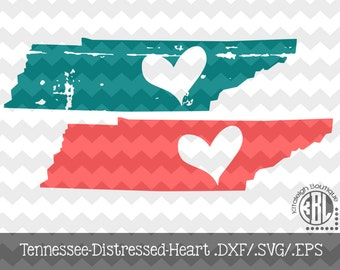 Tennessee-Heart-Distressed INSTANT DOWNLOAD in dxf/svg/eps for use with programs such as Silhouette Studio and Cricut Design Space