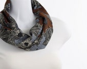 Short scarf Cocoa, Periwinkle Blue, Cream and Black Floral Infinity Scarf ~ SK217-S5