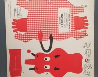 Danish Karoline Cow Pop-Out Greta Rich Advertising Premium Mid Century Modern Vintage 1950s 50s 1960s 60s