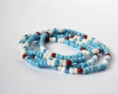 SEEDBEAD WRAP  Bracelet or Necklace Light Blue Red and White Boho Wrap Stretch Bracelet Necklace
