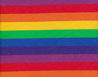 Rainbow Stripe on Cotton Lycra Jersey