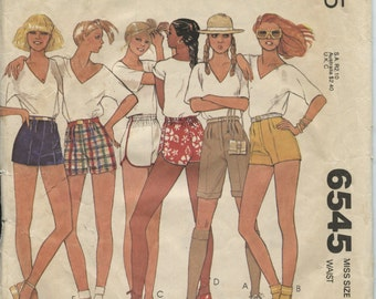 McCall's 6545 Misses High Waisted Shorts & Bermuda Shorts Size 8 / Waist 24 Retro 80s Vintage Sewing Pattern