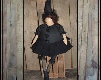 Soft sculpted round fat primitive folk art cloth doll witch art doll HAGUILD HAFAIR OFG faap