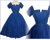 Vintage 1950s Dress//50s Designer Dress//Blue//David Hart//New Look//Mod//Rockabilly