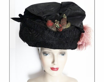 1900s Edwardian Hat//Authentic Antique Hat / 1900s Hat / Victorian / Edwardian / Wire Frame / Titanic Era /